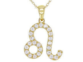 "Round White Zircon ""Leo"" 10k Yellow Gold Pendant With Chain 0.44ctw"