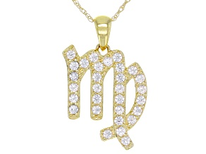 "Round White Zircon ""Virgo"" 10k Yellow Gold Pendant With Chain 0.49ctw"