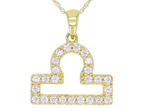 "Round White Zircon ""Libra"" 10k Yellow Gold Pendant With Chain 0.41ctw"