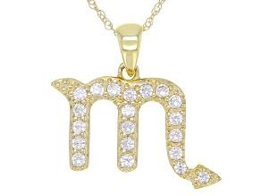 "Round White Zircon ""Scorpio"" 10k Yellow Gold Pendant With Chain 0.27ctw"