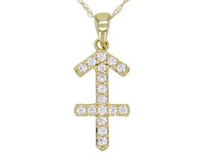 "Round White Zircon ""Sagittarius"" 10k Yellow Gold Pendant With Chain 0.29ctw"
