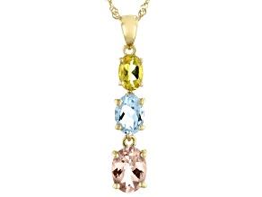 Morganite, Aquamarine, And Yellow Beryl 10k Yellow Gold Pendant With Chain 1.84ctw