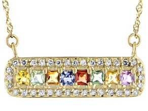 Multicolor Sapphire 10k Yellow Gold Bar Necklace 1.00ctw