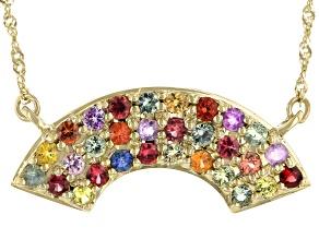 Multicolor Sapphire 10k Yellow Gold Rainbow Necklace 1.15ctw