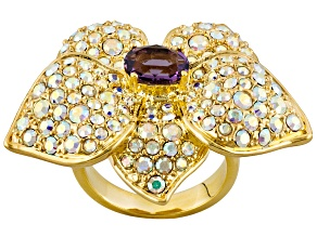 Purple And White Crystal Gold Tone Flower Ring.