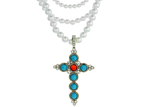 Imitation Turquoise, Carnelian, White Crystal Gold Tone Cross Enhancer With Pearl Simulant Necklace.