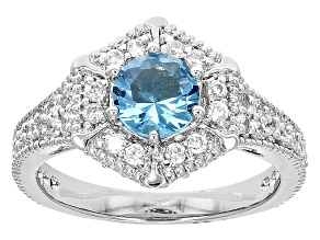 Blue Crystal White Crystal Silver Tone Ring