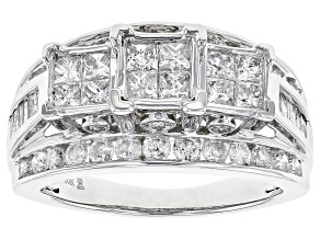 2.00ctw Round, Baguette And Princess Cut Diamond 10k White Gold Ring