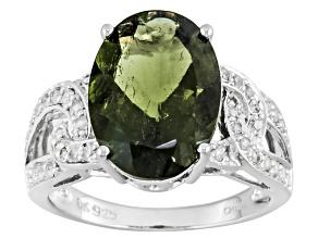 Green Moldavite Sterling Silver Ring 3.86ctw