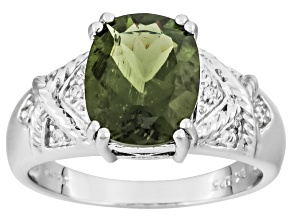 Green Moldavite Sterling Silver Ring 1.93ctw