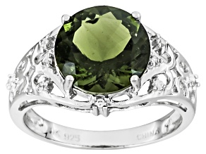 Green Moldavite Sterling Silver Ring 2.37ctw