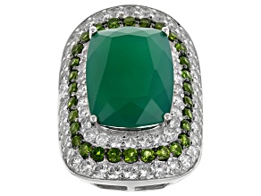 Green Onyx Sterling Silver Ring. 5.75ctw