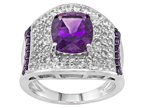 Purple Uruguayan Amethyst And White Zircon Sterling Silver Ring 4.53ctw