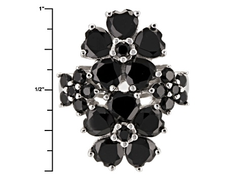 Black Spinel Sterling Silver Floral Ring 6.49ctw