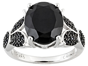 Black Spinel Sterling Silver Ring 5.87ctw