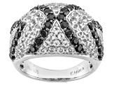 Black Spinel Sterling Silver Dome Ring 3.19ctw