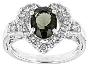 Green Moldavite Sterling Silver Heart Ring 1.75ctw