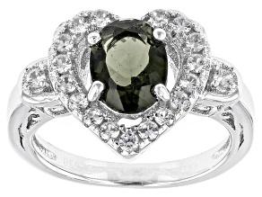 Green Moldavite Sterling Silver Heart Ring 1.75ctw