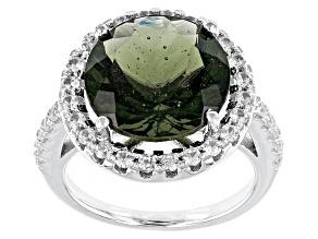 Green Moldavite Sterling Silver Ring 4.37ctw
