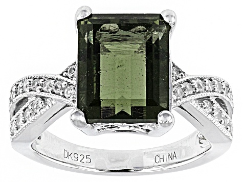 6acbe6cdc6080 Green Moldavite Sterling Silver Ring 2.33ctw