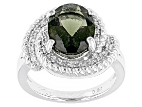 Green Moldavite Sterling Silver Ring 1.65ctw