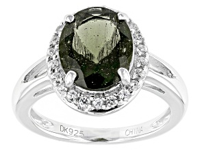 Green Moldavite Sterling Silver Ring 1.61ctw