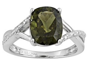Green Moldavite Sterling Silver Ring 1.96ctw