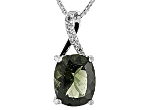 Green Moldavite Sterling Silver Pendant With Chain 1.94ctw