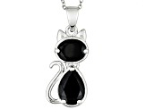 Black Spinel Rhodium Over Sterling Silver Cat Pendant With Chain 3.36ctw