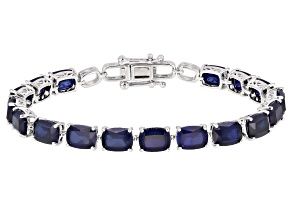 Blue Lab Created Sapphire Rhodium Over Sterling Silver Bracelet 29.22ctw