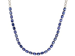Blue Lab Created Sapphire Rhodium Over Sterling Silver Necklace 43.80ctw