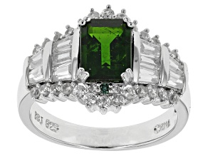Green Russian Chrome Diopside, Green Diamond And White Zircon Sterling Silver Ring 3.31ctw