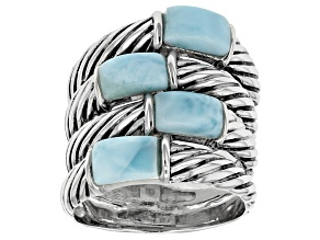 Blue Larimar Sterling Silver Stack Look Ring
