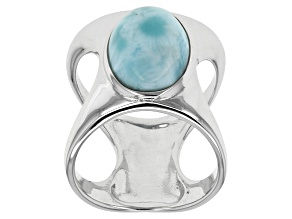 Blue Larimar Solitaire Sterling Silver Ring