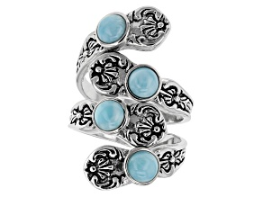 Blue Larimar Sterling Silver Bypass Ring