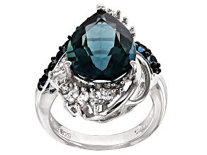Blue Fluorite, Blue Topaz And White Zircon Sterling Silver Ring 5.83ctw