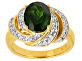 Green Chrome Diopside 18k Yellow Gold Over Sterling Silver Ring 2.97ctw