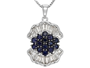 Blue Sapphire Sterling Silver Pendant With Chain 2.17ctw