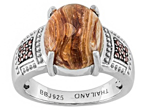 Caramel Color Mexican Caramel Opal And Garnet Sterling Silver Ring 2.67ctw