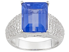 Blue Color Change Fluorite Sterling Silver Ring 4.48ctw