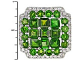 Green Chrome Diopside Sterling Silver Ring 6.08ctw