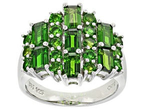 Green Chrome Diopside Sterling Silver Ring 3.32ctw