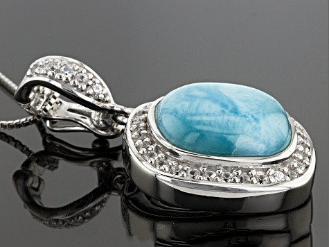 Blue Larimar Sterling Silver Enhancer With Chain .71ctw