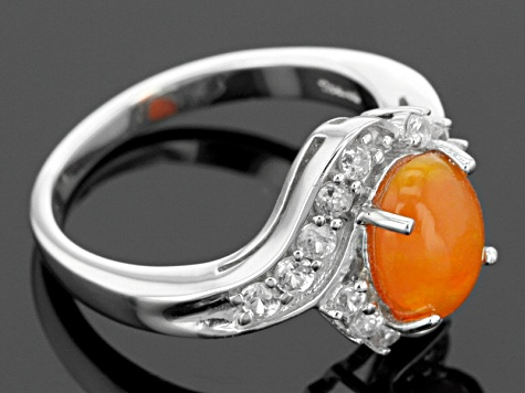Orange Ethiopian Opal Sterling Silver Ring 1.52ctw