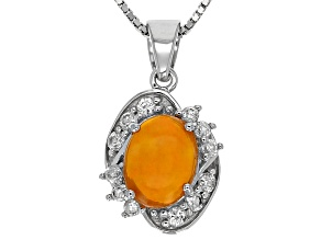 Orange Ethiopian Opal Sterling Silver Pendant With Chain 1.32ctw