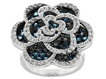Picture of London Blue Topaz Sterling Silver Floral Ring 2.74ctw