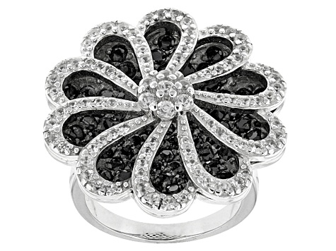 Black Spinel And White Zircon Sterling Silver Ring 4.51ctw
