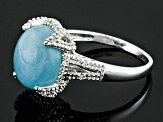 Blue Aquamarine Sterling Silver Ring 4.51ctw