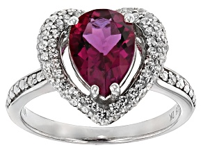 Red Lab Created Bixbite And White Zircon Sterling Silver Ring 2.54ctw