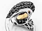 Brown Champagne Quartz Sterling Silver Ring 12.32ctw